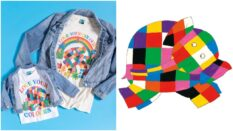 Elmer the Elephant features on a 'Love Your Colours' Pride t-shirt. (TruffleShuffle/AndersenPress)