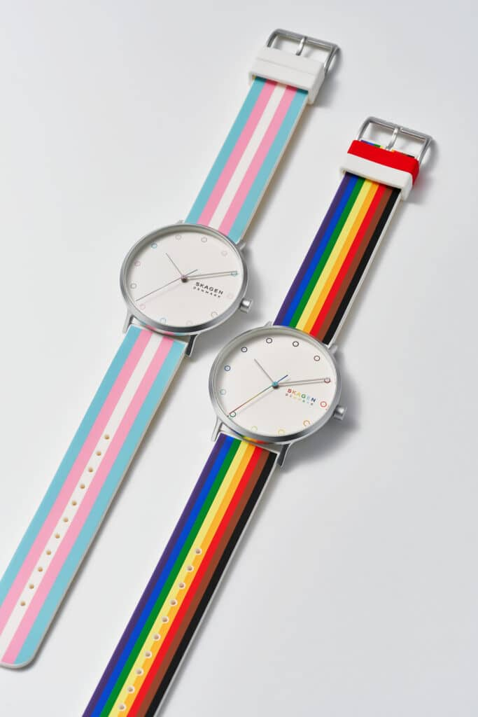 Skagen's Pride watches include rainbow and trans flag inspired designs. (Skagen)