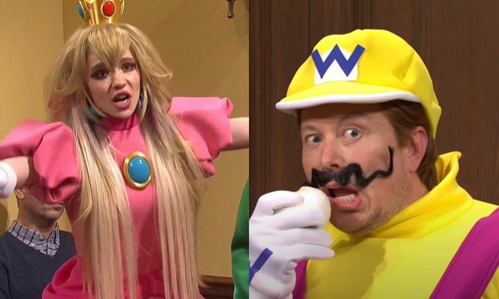 On the left: Grimes dressed as Princess Peach waving her hands in the air. On the right: Elon Musk, dressed as Wario, snickers while holding his fake moustache.