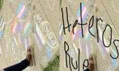 Sartartia Middle School teacher texas chalk art heteros rule LGBT pride lags