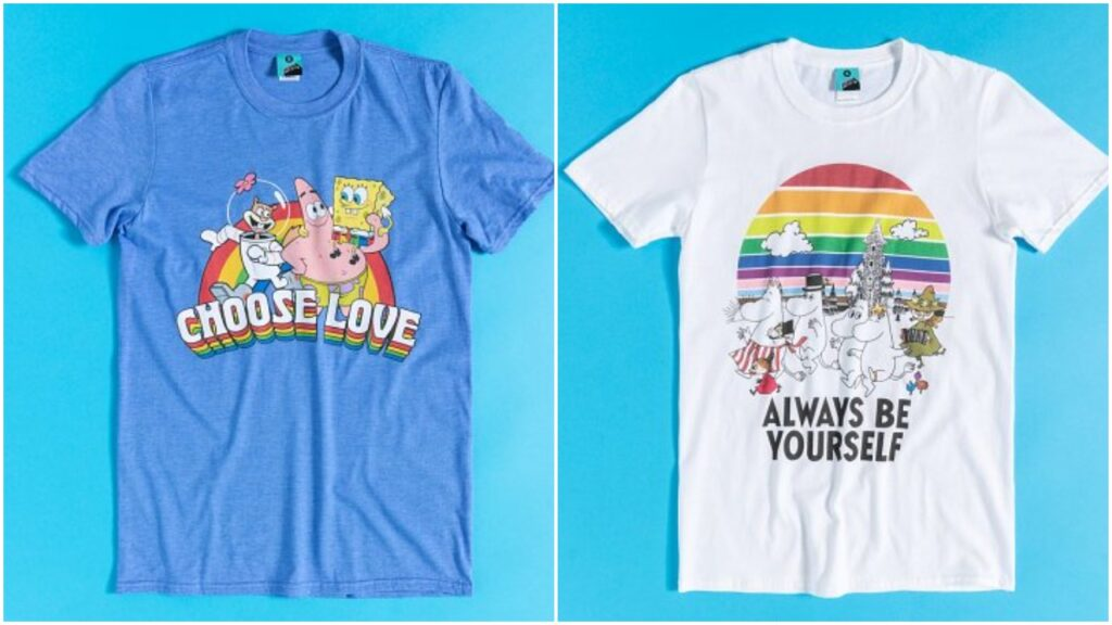 The website is also selling limited edition SpongeBob Squarepants and Moomins t-shirts for Pride. (TruffleButter)