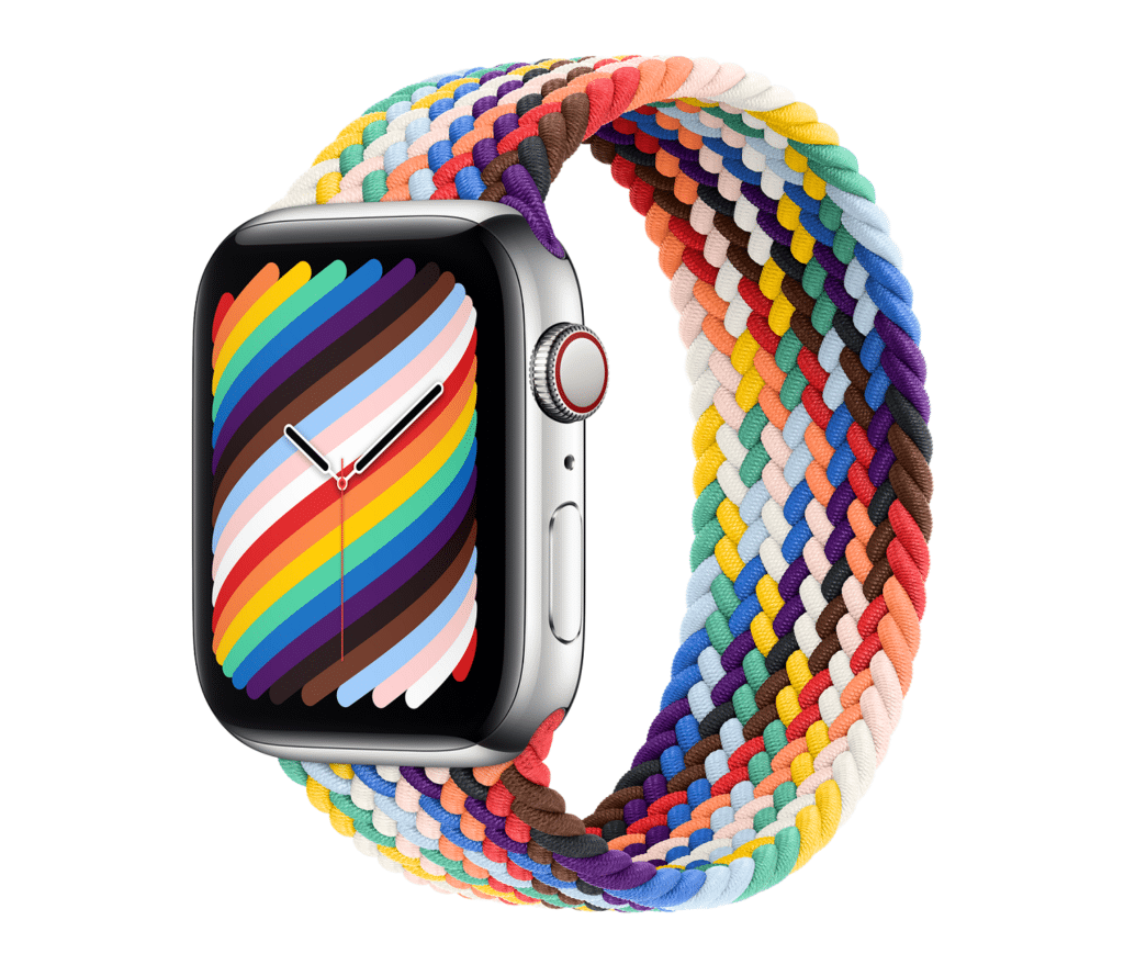 The new Apple Watch Pride Edition includes the inclusive Pride flag colours for the first time. (Apple)