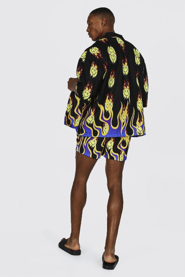 The flame design swim shorts from Boohoo.