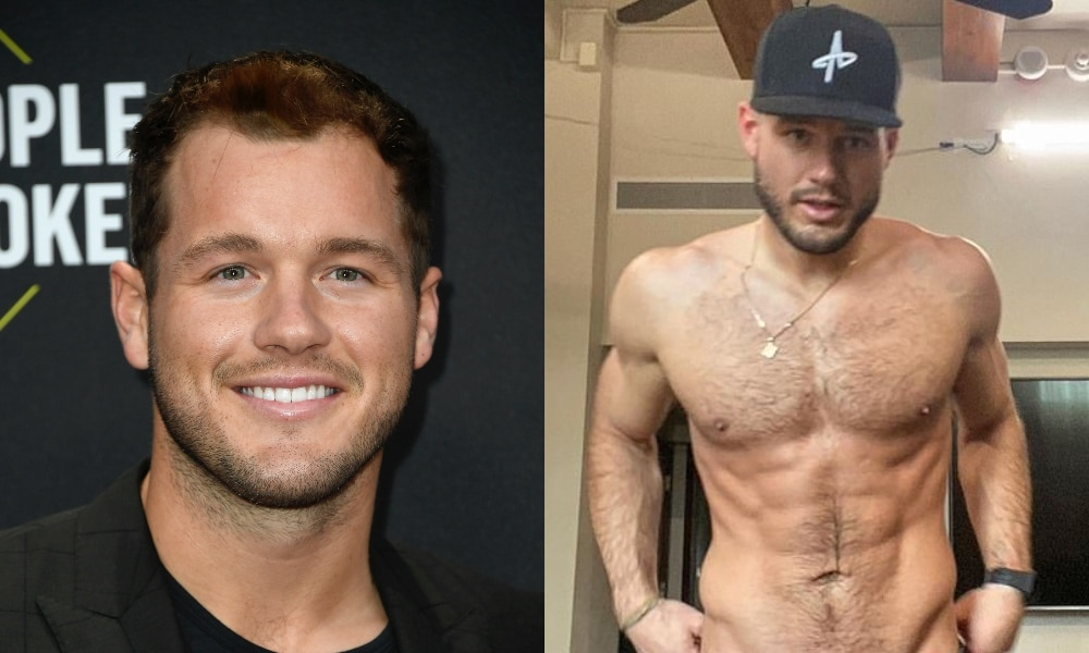 On the left: Colton Underwood smiles at the red carpet. On the right: Colton Underwood stands shirtless while looking at the camera