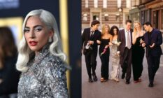On the left: Lady Gaga on the red carpet in a metallic dress. On the right: The original cast of Friends