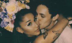 Ariana Grande receives a kiss on the cheek from Dalton Gomez