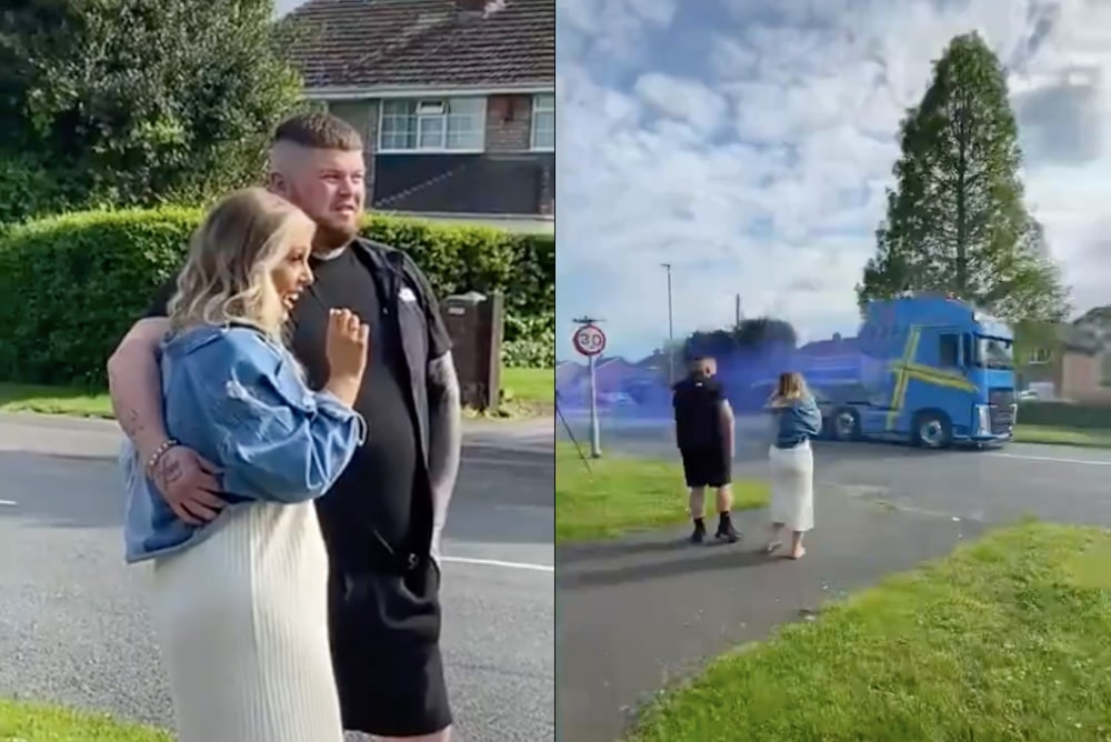 Truck driver's bizarre gender reveal party leaves us once again asking 'if the straights are OK'