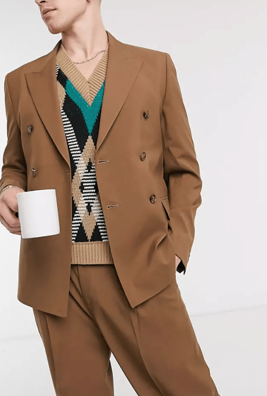 A brown suit from ASOS.