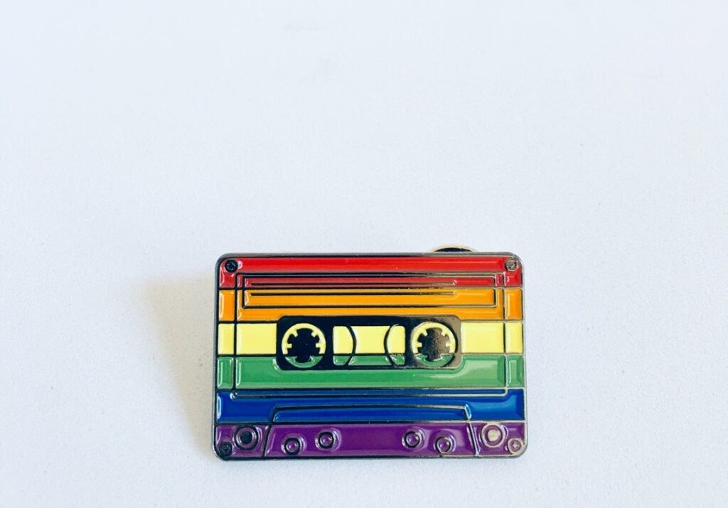 A cassette tape featuring the Pride colours. (SacCityThreads)