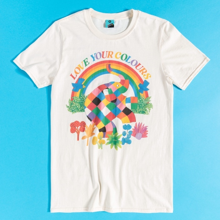 Elmer the Patchwork Elephant features on a Pride t-shirt. (TruffleShuffle)