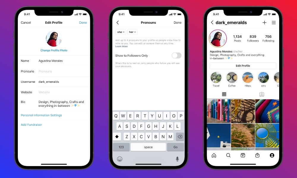 An iPhone with instagram loaded up, showing how to add pronouns