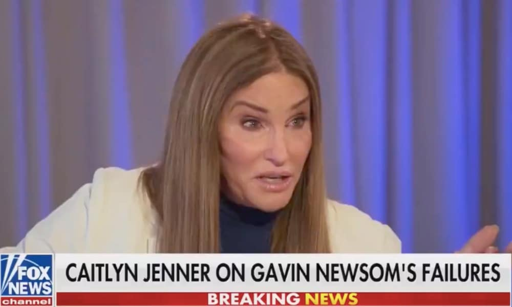 """Caitlyn Jenner speaks to an interview with the chyron that reads: Cailtny Jenner on Gavin Newsom's failures""""."""
