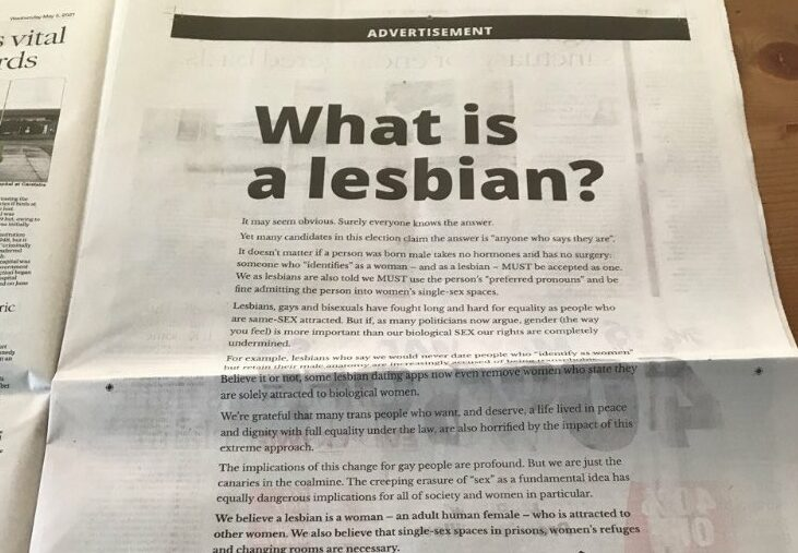 LGB Alliance says trans women can't be lesbians in 'demeaning' newspaper ad
