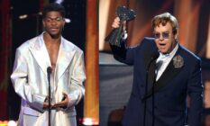 Lil Nas X and Elton John at the 2021 iHeartRadio Music Awards