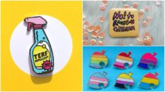 There's loads of different Pride pins available from independent sellers on Etsy.