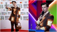 Harry Styles at the 2021 BRIT Awards wearing a Gucci suit. (Photo by JMEnternational/JMEnternational for BRIT Awards/Getty Images & Photo by Dave J Hogan/Getty Images)