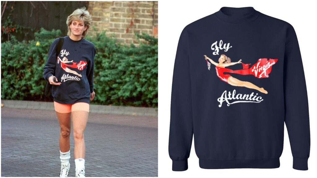 Fans can get the 'Fly Virgin Atlantic' sweater regularly worn by Princess Diana. (Photo by Anwar Hussein/WireImage)