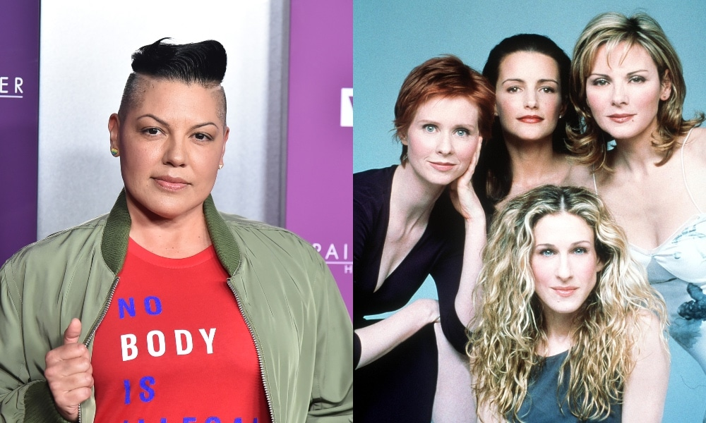 On the left: Sara Ramirez in a red t-shirt and green bomber jacket. On the right: The cast of Sex And The City, Clockwise from top left: Cynthia Nixon, Kristin Davis, Kim Cattrall and Sarah Jessica Parker