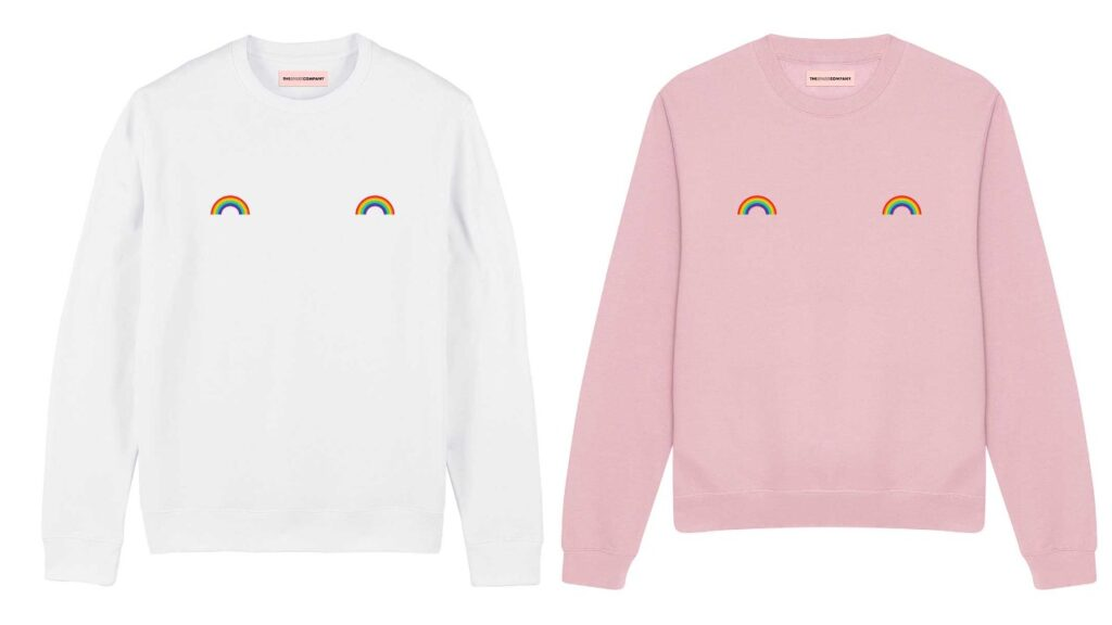 The rainbow nipple sweatshirt for Pride 2021 is available in four colours. (The Spark Company)