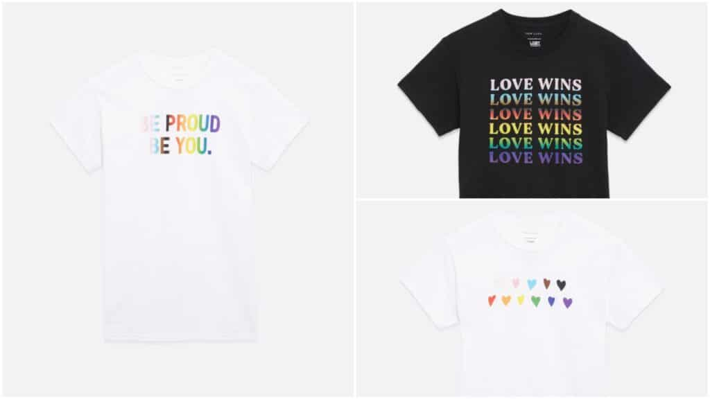 The Pride collection from New Look features six different t-shirts. (New Look)