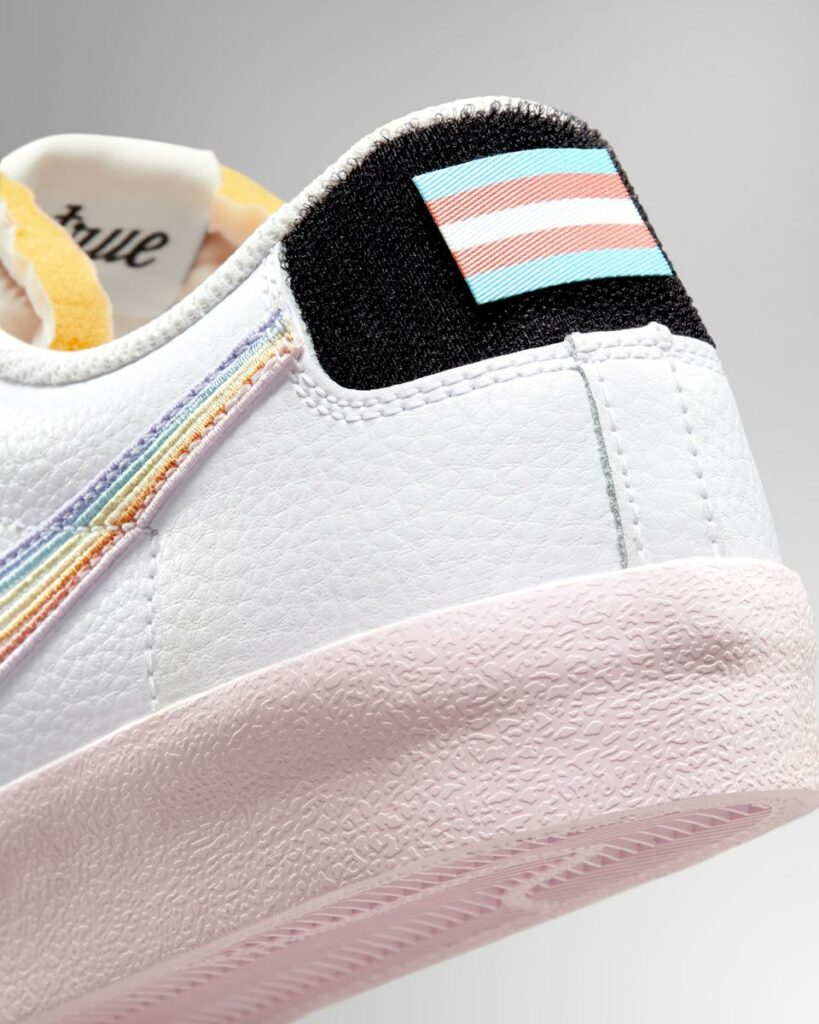 The Blazer Low '77 sneakers featuring the trans flag patch. (Nike)