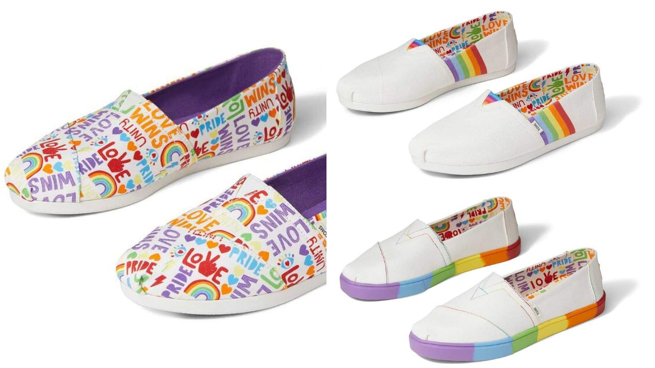 TOMS has released its Pride collection in support of grassroot LGBT+ organisations. (TOMS)