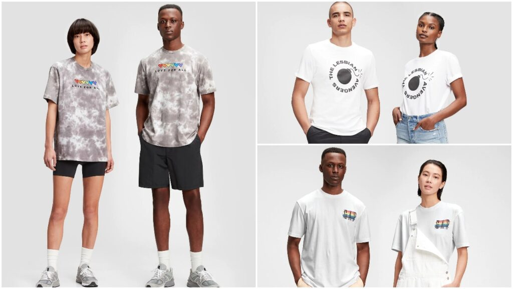 These three t-shirt designs from Gap's Pride collection are available from the UK and US stores. (Gap)