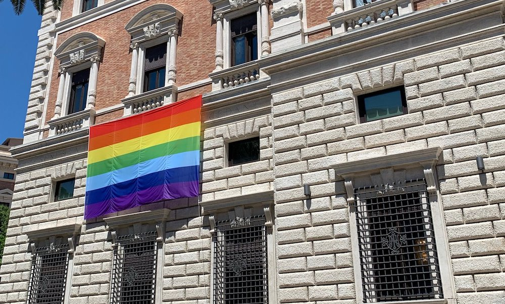 A Pride flag on the US embassy to the Holy See, in Vatican City.