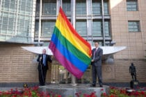 Pride flag at the US embassy in Russia