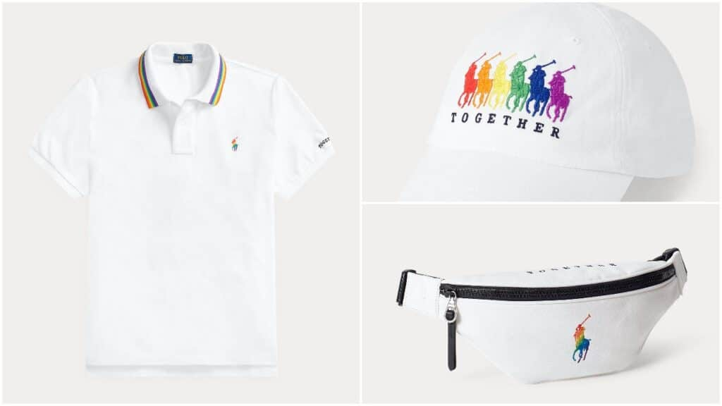 The Ralph Lauren Pride collection includes its iconic polo shirt in rainbow colours. (Ralph Lauren)