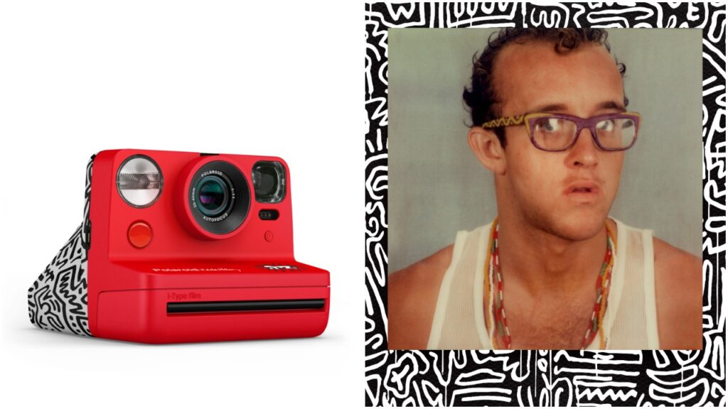 The Now Instant Camera and film pack feature black and white motifs inspired by Keith Haring's iconic art work. (© Keith Haring Foundation. Licensed by Artestar, New York)