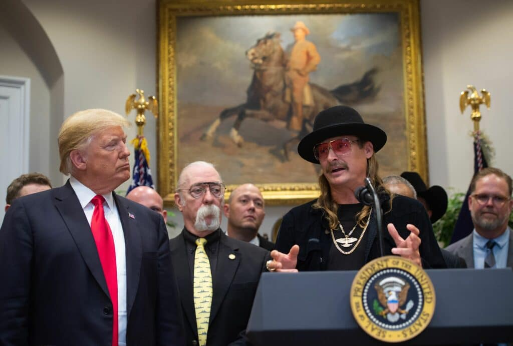 Donald Trump shakes hands with musician Kid Rock