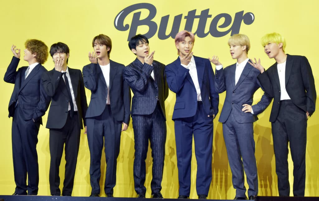 BTS attends a press conference for their new digital single 'Butter'
