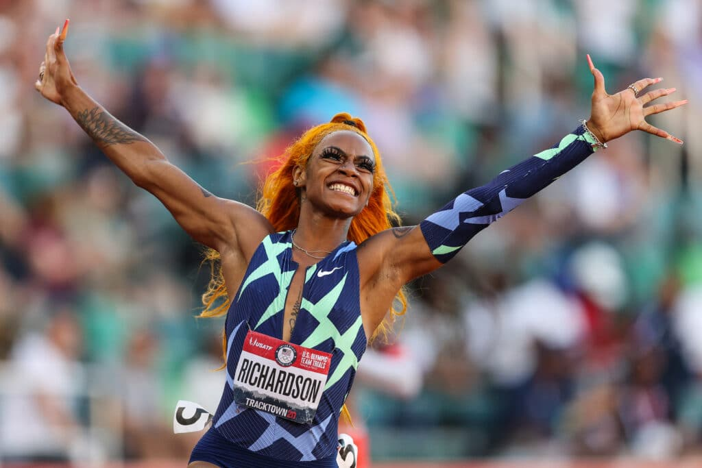 Sha'Carri Richardson celebrates winning the Women's 100-metre final on day two of the 2020 US Olympic track and field team trials