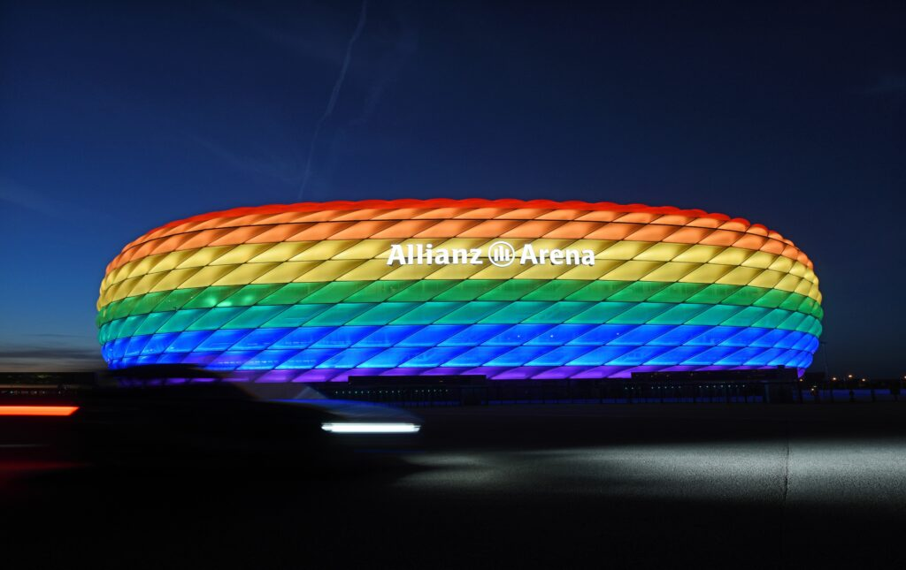 The Allianz arena lit with rainbow colours for Christopher Street Day, 2019