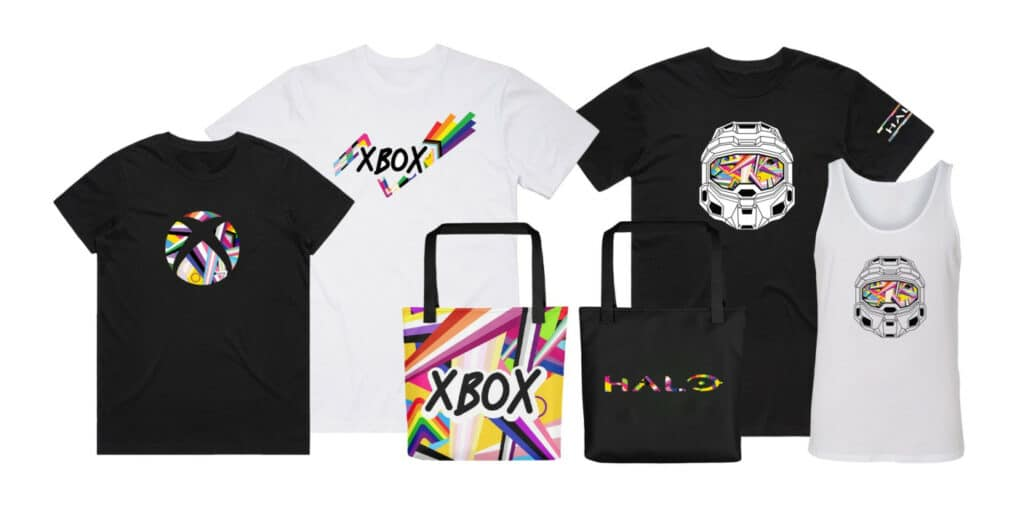 The Xbox Pride range features t-shirts, bags and pins. (Microsoft)