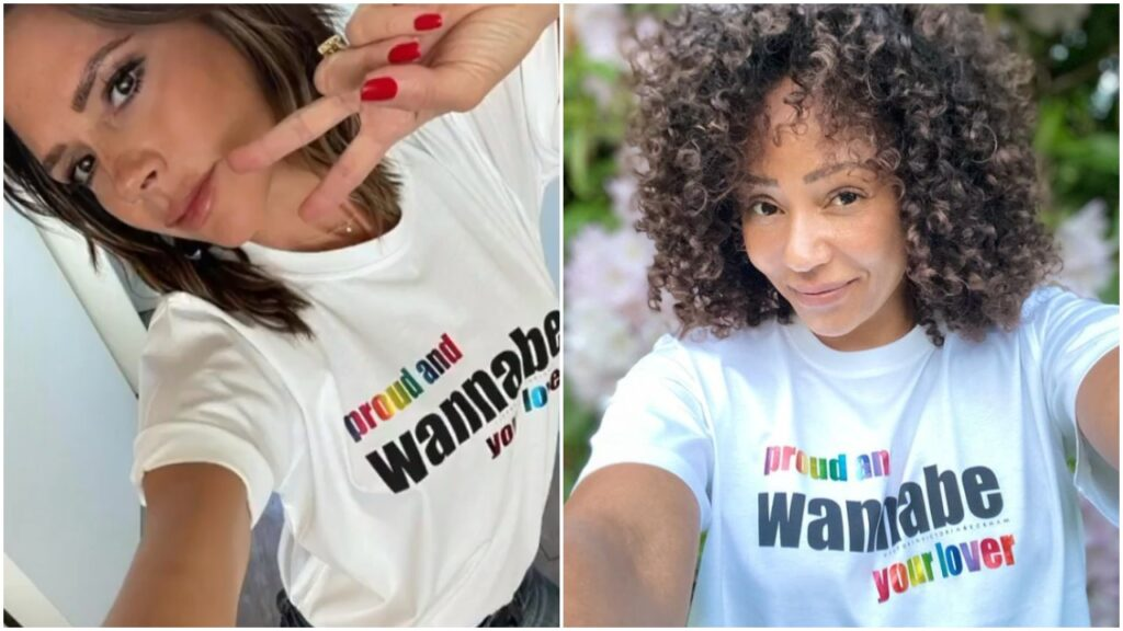 Posh Spice and Scary Spice model the Pride t-shirt created by Victoria Beckham. (VVB)