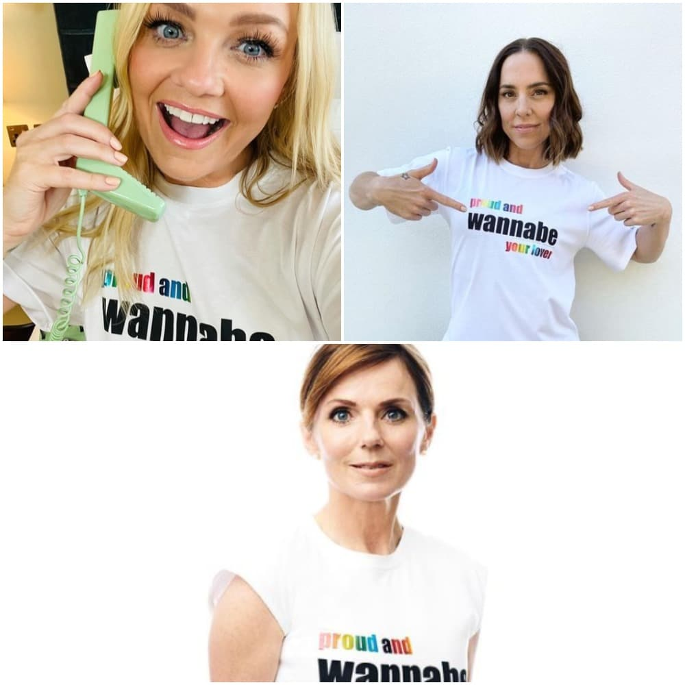 Baby Spice, Sporty Spice and Ginger Spice modelling the Pride t-shirt. (VVB)
