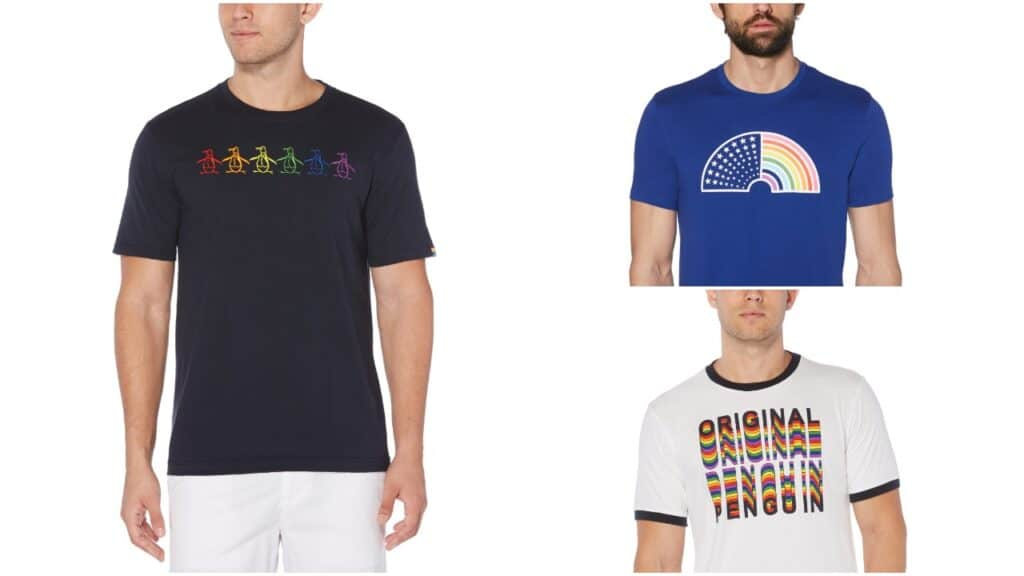 The collection features a number of t-shirts with the Penguin logo in a rainbow design. (Penguin)