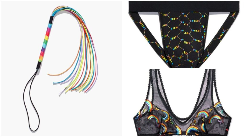 The Savage x Fenty Pride collection features rainbow jockstraps, bralettes and even whips. (Savage x Fenty)