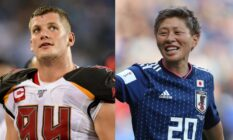 On the left: Carl Nassib in his uniform on the pitch. On the right: Kumi Yokoyama in their football jersey on the pitch.