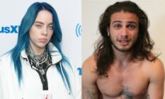 On the left: Billie Eilish with blue hair on the red carpet. On the right: Matthew Tyler Vorce shirtless with long hair
