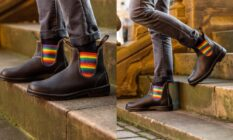 Blundstone boots with rainbow gore