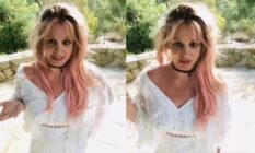 Side-by-side of Britney Spears in a white v-neck dress standing in a garden