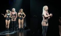 Side-by-side photographs of Britney Spears performing in lace and knee-thigh boots on a dark stage