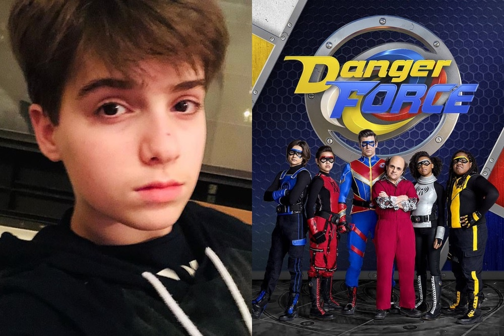 On the left: Sasha Cohen poses for a selfie in a hoodie. On the right: The main cast of Danger Force