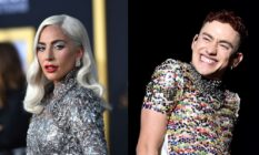 On the left: Lady Gaga in a silver dress. On the right: Olly Alexander in a rainbow sparkled top.
