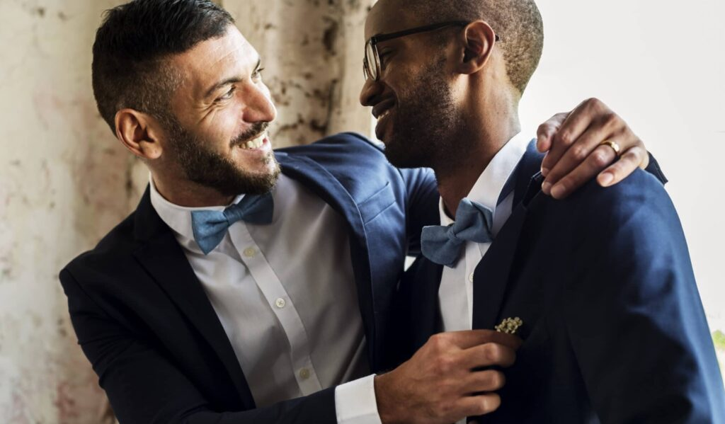 Couple at a same-sex wedding, now approved by the Methodist Church