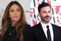 On the left: Caitlyn Jenner poses on the red carpet. On the right: Jimmy Kimmel smiles on the red carpet.