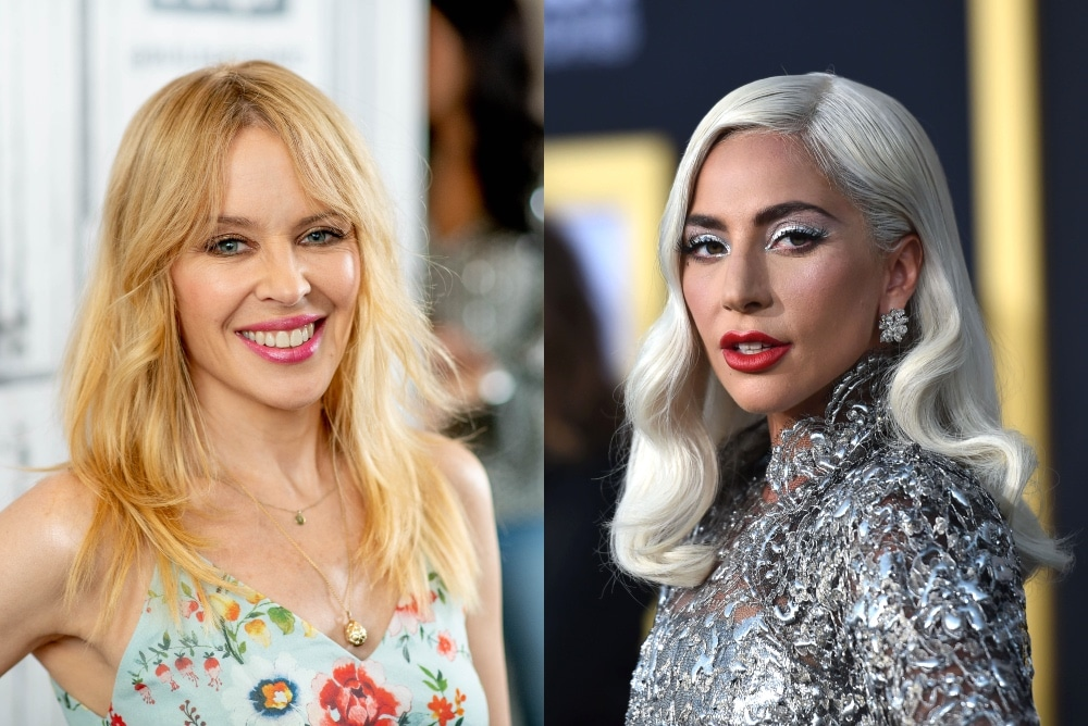 On the left: Kylie Minogue smiles in a floral dress. On the right: Lady Gaga looks to her left in a metallic dress